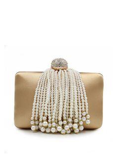Shop Clutches - Golden Satin Push Lock Evening Clutch online. Discover unique designers fashion at StyleWe.com.
