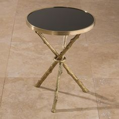 """Twig table - antique brass, black granite top (16""""dia x 21""""h) available immediately"""