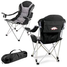 Arkansas Razorbacks Black Reclining Camp Chair. Great as a spectator chair at sporting events or outdoor activities. Visit SportsFansPlus.com for Details.