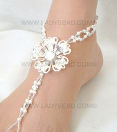 #Beach #Wedding #Barefoot #Sandals Flower Rhinestone Pearl