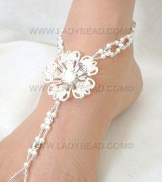 #Beach #Wedding #Barefoot #Sandals Flower Rhinestone Pearl