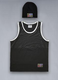 SHOOP Beanie & Basic Basket Tee  #black #beanie #shoopclothing #shoop #basket #tanktop #nonsleeve #sport #mesh