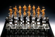 Chess Set by Milon Townsend. American Made. See the designer's work at the 2015 American Made Show, Washington DC. January 16-19, 2015. americanmadeshow.com #chess, #chessset, #glass, #artglass, #americanmade, #figures