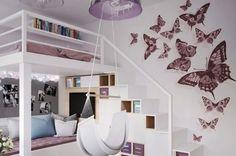 Kinderzimmer Wandgestaltung Ideen Wandaufkleber Schmetterlinge Rosa Hochbett
