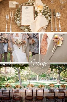Greige Fall Wedding inspiration. Greige is a combination of the color grey and beige.