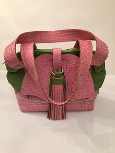 Pink and Green Leather Purse and Tassel Keychain, Leather handbag, Leather Bow Purse, Green Purse, Pink Purse, Pink and Green Keychain