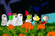 Peanuts gang goes trick or treating at the pumpking patch