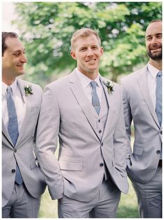 Smiling groom and groomsmen in light gray suits with blue ties, image by Heather Payne Photography. Beach Wedding Suits, Beach Wedding Makeup, Beach Wedding Bridesmaids, Wedding Dress, Gray Groomsmen Suits, Groom And Groomsmen, Light Grey Suits, Gray Suits, Serenity
