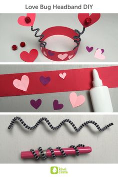 """Love Bug Headband DIY! As a special Valentine treat for our kid testers, we decided to create some dress-up headbands to turn them into little """"love bugs"""". They had so much fun giggling and playing with their new heart shaped antennas."""