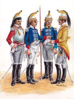 Regimiento Rey, 1º de Coracero. Regimiento Infante. Lanceros de Castilla. Trompeta del Regimiento Infante.