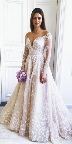 36 Gorgeous A-Line Wedding Dresses ❤️ a line wedding dresses with long sleeves illusion neckline lace floral misshayleypaige weddingforward wedding bride 419045940325132114 Lace Wedding Dress With Sleeves, Long Wedding Dresses, Long Sleeve Wedding, Bridal Dresses, Dresses With Sleeves, Maxi Dresses, Lace Sleeves, Wedding Dressed With Sleeves, Eve Of Milady Wedding Dresses
