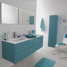 Meuble de salle de bains Cosmo, bleu atoll n°3 - leroy merlin