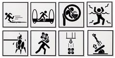 Portal 2 Warning Sign Coasters :: I love portal so simple and yet so complex...reminds me of someone I know