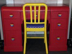 Great Hera! Wonder Woman Upcycled Vintage Desk Vanity Super Hero Justice League DC Comic OOAK Geekery Multimedia Metal Chair by WhimsofChange on Etsy