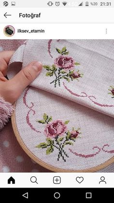 Lovely floral/roses cross stitch embroidered tablecloth in white linen from Sweden Cross Stitch Tree, Cross Stitch Bookmarks, Cross Stitch Borders, Cross Stitch Flowers, Cross Stitch Embroidery, Cross Stitch Patterns, Christmas Embroidery Patterns, Hand Embroidery Designs, Bargello