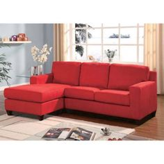 Vogue Microfiber Reversible Chaise Sectional Sofa, Multiple Colors, Red