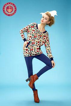 Womens Spring Colorful Pop Art Preppy Style Loose Sweatshirt