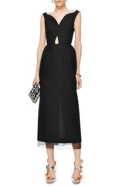 M'O Exclusive: Organza-Trimmed Midi Dress by DELPOZO - Moda Operandi
