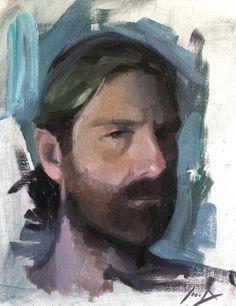 Self Portrait Painting  (3 Color Palette. Cad Red, Lemon Yellow, Viridian.)  - Sean Dietrich