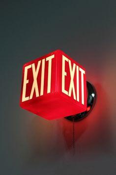 #4757 / EXIT SIGN, CUBE Wayfinding Signage, Signage Design, Branding Design, Japanese Restaurant Interior, Cafe Interior, Neon Box, Creative Wall Decor, Exit Sign, Hotel California
