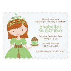 Green Cupcake with Princess Invitation #cupcake #princess