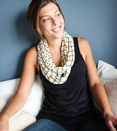 Stunning cream and navy lacoste t-shirt necklace / scarf!! Can be worn in so many different ways!! Purchase from www.wave2africa.com