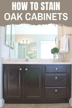 Need a bathroom makeover on a budget?  Learn how to Stain oak cabinet the simple method without sanding.  This simple tutorial will walk you through the process. #bathroommakeover #stainoakcabinets Christmas Bathroom Decor, Diy Bathroom Decor, Diy Home Decor, Dark Oak Cabinets, Kitchen Cabinets, Refinished Vanity, Home Office Organization, Diy Home Improvement, Home Remodeling
