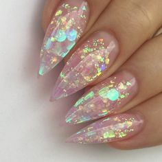 """If you're unfamiliar with nail trends and you hear the words """"coffin nails,"""" what comes to mind? It's not nails with coffins drawn on them. It's long nails with a square tip, and the look has. Cute Acrylic Nails, Cute Nails, Pretty Nails, Stiletto Nails Glitter, Coffin Nails, Holographic Nails Acrylic, Clear Glitter Nails, Chunky Glitter Nails, Pink Coffin"""