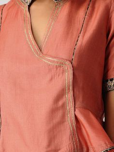 Orange Hand-embroidered Silk Cotton Blouse with Gota Shopping Coupons, Embroidered Silk, Cotton Blouses, Jewel Tones, Orange, Kurtis, Stuff To Buy, Clothes, Dresses