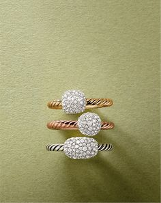 David Yurman stack able pave rings