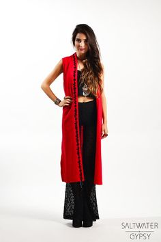 SALE Vintage Red Asian Style Embroidered  Maxi by saltwatergypsy, $28.00