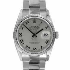 This stunning men's pre-owned Rolex datejust watch features a stainless steel case with a matching oyster bracelet. The slate dial is home to Roman numerals for easy time-telling and a date window at