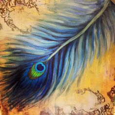 Beautiful Peacock feather canvas artwork
