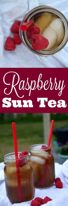 Raspberry Sun Tea - This easy iced tea recipe is crazy easy to make and so refreshing! Get it started this morning and enjoy with dinner! Healthy Sweet Snacks, Easy Healthy Recipes, Healthy Drinks, Real Food Recipes, Healthy Shakes, Iced Tea Recipes, Coffee Recipes, Drink Recipes, Raspberry Iced Tea