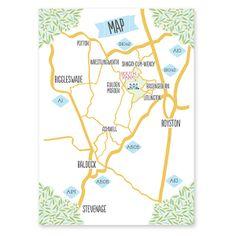 Bespoke handmade papercut wedding invitation map featuring wedding venue illustration.