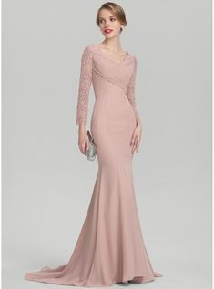 Trumpet/Mermaid V-neck Sweep Train Ruffle Zipper Up Covered Button Sleeves Long Sleeves No Dusty Rose General Plus Chiffon Lace US 2 / UK 6 / EU 32 Mother of the Bride Dress Lace Bridesmaid Dresses, Wedding Party Dresses, Dress Pesta, Robes D'occasion, Lace Evening Dresses, Custom Dresses, Groom Dress, Mermaid Dresses, Trendy Dresses