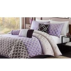 image of Madison Park Bayer 7-Piece Comforter Set in Purple