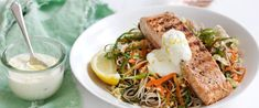 Char-grilled salmon with soba noodle slaw and wasabi mayo – Recipe courtesy of Jalna