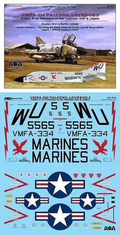 - FALCONS: LOVEBUG USMC Phantom in the Vietnam War & Japan. Although the Phantoms from Falcons have been seen before in the modeling world, this sheet features properly shaped falcon insignias for the fuselage and also correct large sized modex numbers.