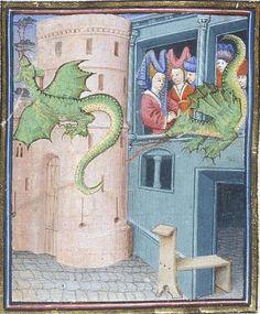 Paris flying dragons. Harley 4418 f. 214v. Jean d'Arras, Roman de Mélusine,  c. 1450