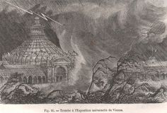 Tornado during the Vienna Universal Exhibitionon 29 June 1873 (Fig. 16, p. 125).  source: woodcuts by Berard and Riou for Trombes et Cyclones by Zurcher and Margole, 1876, Paris, pp. 314.