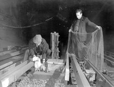 Rat Catchers in London subway with ferrets & nets