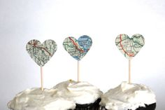 going away party cupcake toppers. Would be cute with maps of current city and future.