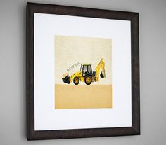 Construction Vehicle Yellow Backhoe by caramelexpressions on Etsy, $13.00