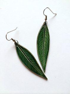 Small Long Green Ceramic Leaf Earrings by AlainaSheenDesigns, $18.00