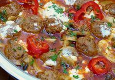 Home - Kifőztük My Recipes, Beef Recipes, Feta, Hungarian Recipes, Hungarian Food, Tasty, Yummy Food, Sausage, Bacon