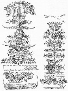 Hungarian Embroidery, Folk Embroidery, Embroidery Patterns, Art Costume, Scandinavian Art, Line Drawing, Line Art, Folk Art, Needlework