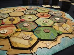 Custom, laser-cut plywood board for The Settlers of Catan, by Sharra Culp