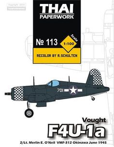 WWII Chance Vought F4U-1a Corsair VMF-312 Free Aircraft Paper Model Download - http://www.papercraftsquare.com/wwii-chance-vought-f4u-1a-corsair-vmf-312-free-aircraft-paper-model-download.html#1100, #AircraftPaperModel, #ChanceVoughtF4UCorsair, #Corsair, #F4U, #Fighter, #Vought, #VoughtF4UCorsair, #WWII