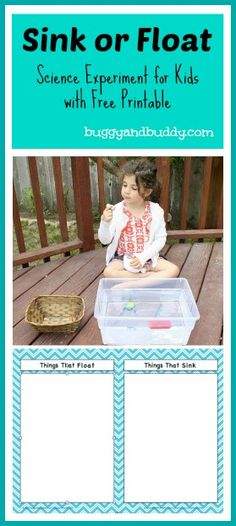 Sink or Float Science Experiment~ Great learning activity for younger kids with a FREE printable